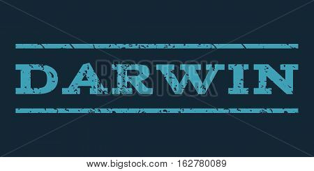 Darwin watermark stamp. Text caption between horizontal parallel lines with grunge design style. Rubber seal stamp with dust texture. Vector blue color ink imprint on a dark blue background.