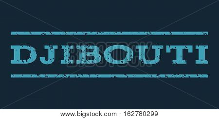 Djibouti watermark stamp. Text tag between horizontal parallel lines with grunge design style. Rubber seal stamp with scratched texture. Vector blue color ink imprint on a dark blue background.