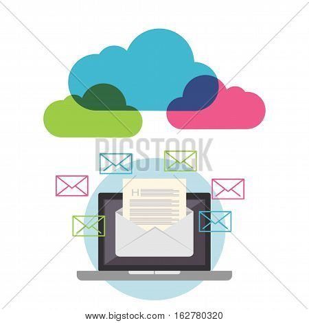 Email marketing. Email concept. Cloud services. Broadcast mail