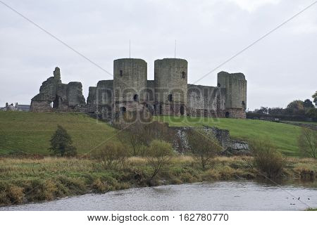 Rhuddlan Castle, North Wales ,UK, a Norman castle constructed in the thirteenth century by the river Clwyd,  in autumn