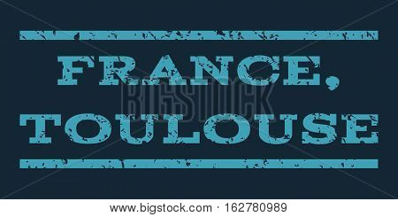 France, Toulouse watermark stamp. Text tag between horizontal parallel lines with grunge design style. Rubber seal stamp with scratched texture.