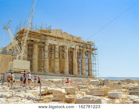 Exterior View Of The Parthenon Temple At The Acropolis