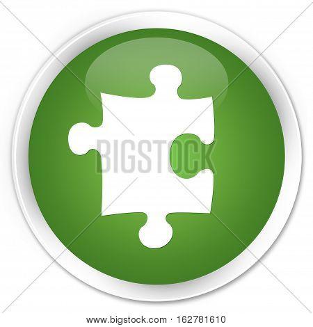 Puzzle Icon Premium Soft Green Round Button