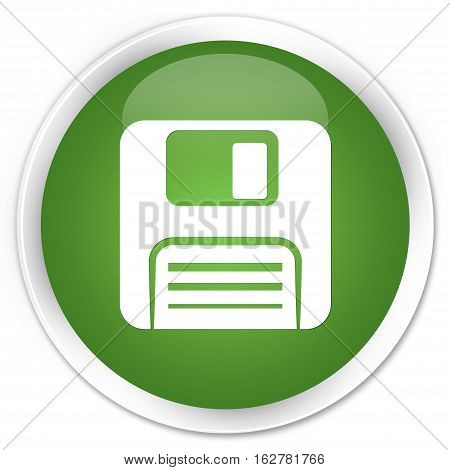 Floppy Disk Icon Premium Soft Green Round Button
