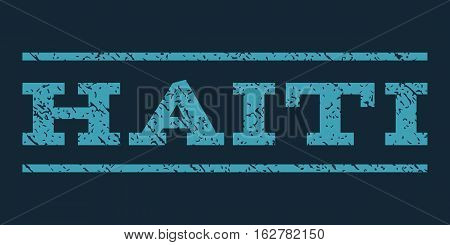 Haiti watermark stamp. Text caption between horizontal parallel lines with grunge design style. Rubber seal stamp with dust texture. Vector blue color ink imprint on a dark blue background.