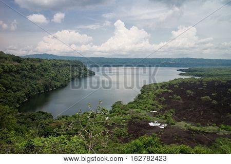 laguna de Masaya view with cloudy sky from Nicaragua