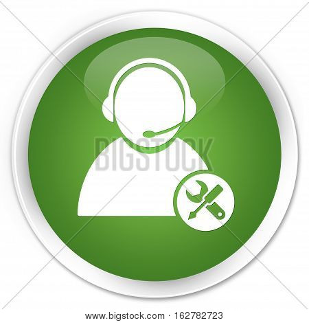 Tech Support Icon Premium Soft Green Round Button