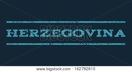 Herzegovina watermark stamp. Text caption between horizontal parallel lines with grunge design style. Rubber seal stamp with scratched texture. Vector blue color ink imprint on a dark blue background.