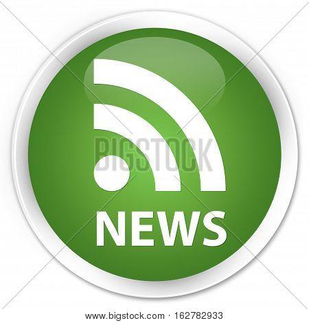 News (rss Icon) Premium Soft Green Round Button