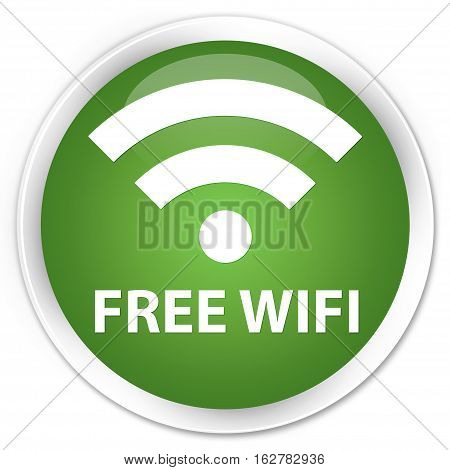 Free Wifi Premium Soft Green Round Button