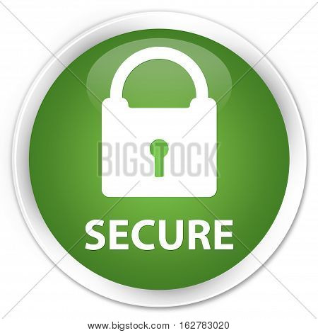 Secure (padlock Icon) Premium Soft Green Round Button