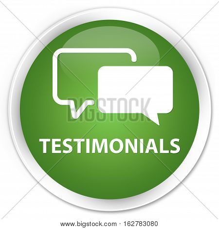 Testimonials Premium Soft Green Round Button