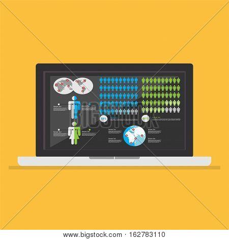 Business report desktop application. Business dashboard interface.