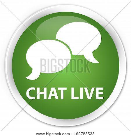 Chat Live Premium Soft Green Round Button