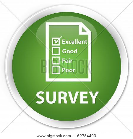 Survey (questionnaire Icon) Premium Soft Green Round Button