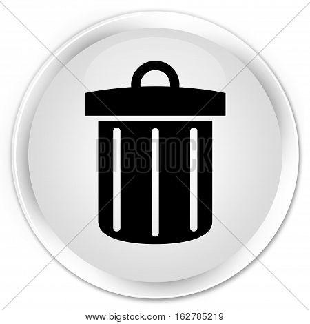 Recycle Bin Icon Premium White Round Button