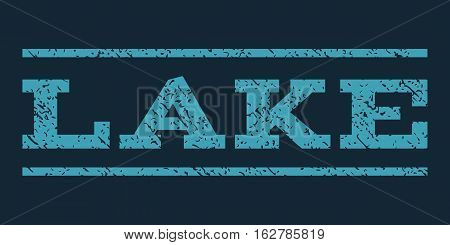 Lake watermark stamp. Text caption between horizontal parallel lines with grunge design style. Rubber seal stamp with dirty texture. Vector blue color ink imprint on a dark blue background.