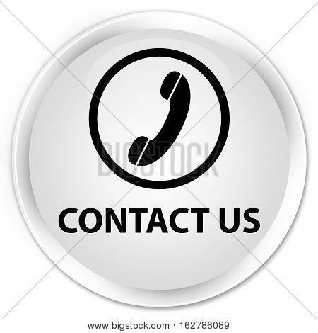 Contact Us (phone Icon Round Border) Premium White Round Button