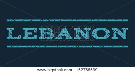 Lebanon watermark stamp. Text tag between horizontal parallel lines with grunge design style. Rubber seal stamp with scratched texture. Vector blue color ink imprint on a dark blue background.