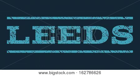 Leeds watermark stamp. Text caption between horizontal parallel lines with grunge design style. Rubber seal stamp with dirty texture. Vector blue color ink imprint on a dark blue background.