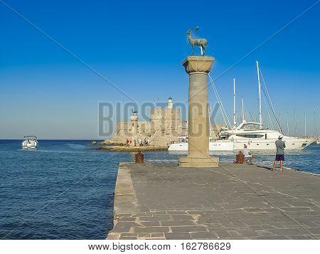 Mandaki Harbor Port And Fort Of St. Nicholas In Rhodes