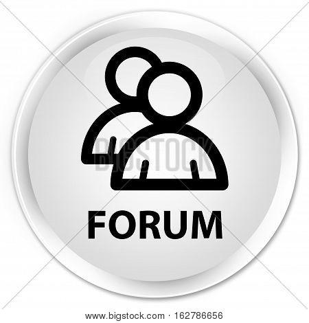 Forum (group Icon) Premium White Round Button