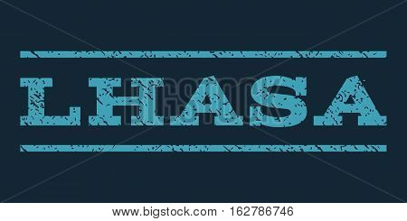 Lhasa watermark stamp. Text tag between horizontal parallel lines with grunge design style. Rubber seal stamp with scratched texture. Vector blue color ink imprint on a dark blue background.