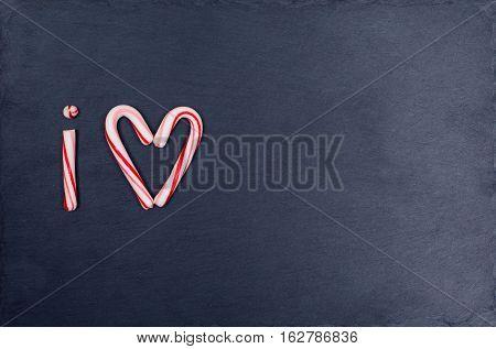 Holiday Candy Cane Heart Shape Abbreviated Text I Love