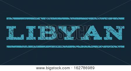 Libyan watermark stamp. Text caption between horizontal parallel lines with grunge design style. Rubber seal stamp with unclean texture. Vector blue color ink imprint on a dark blue background.