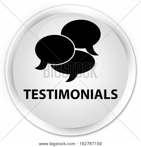 Testimonials (comments Icon) Premium White Round Button