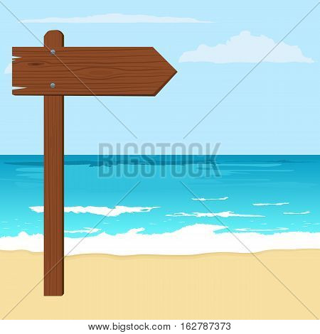 Illustration of notice wood arrow board on a beach. Flat color design style