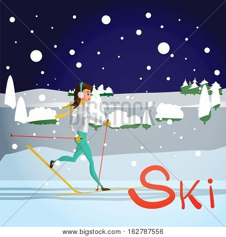 Winter card background. Ski run track, young woman running. Flat cartoon vector illustration