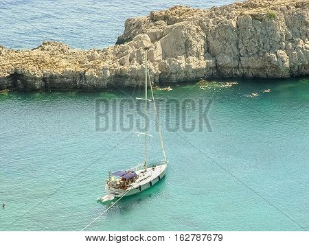 Saint Paul Bay And Beach In The Island Of Rhodes