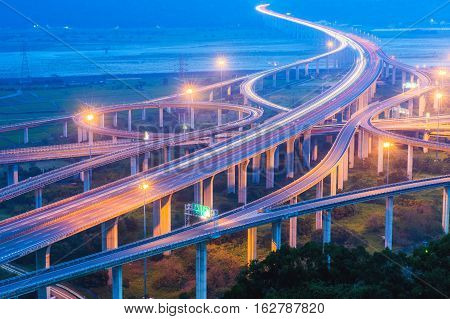 night view of interchange of highway in Taichung Taiwan