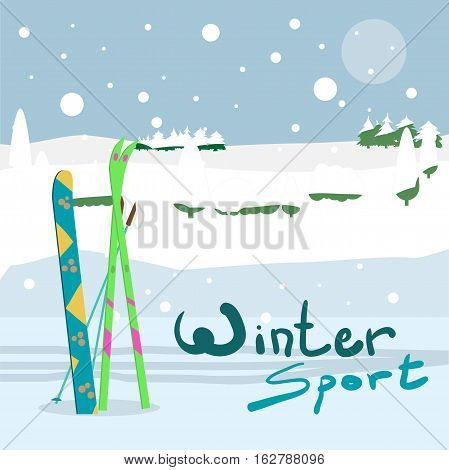 Winter card background. Ski run track, snowboard and ski equipment in the snow