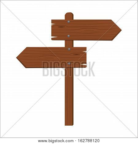 Wooden sign showing to different opposite sides isolated flat color style vector