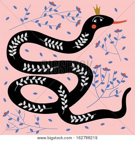 Black elegant and beautiful snake. Vector illustration.