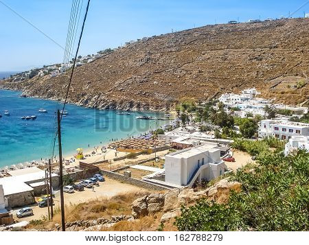 View Of The Paradise Beach In Mykonos