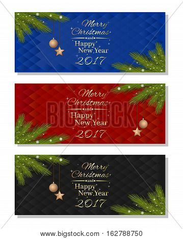 New Year 2017. Christmas banner set. Multicolored christmassy backgrounds with fir branches, Christmas decorations and greeting inscription - Merry Christmas and Happy New Year. Vector illustration