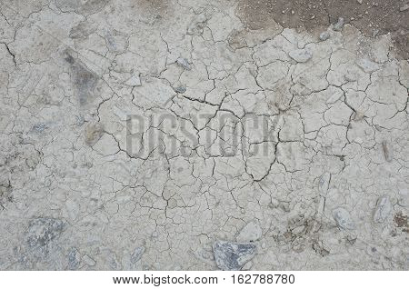 Cracked ground in droughted soil including rocks and other soil background.