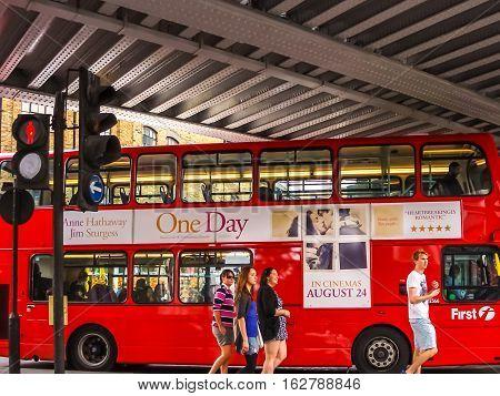 Red Bus At The Camden Lock Bridge.