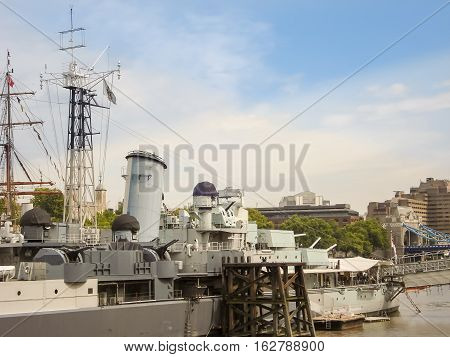 Military Ship Hms Belfast Anchored On River Thames