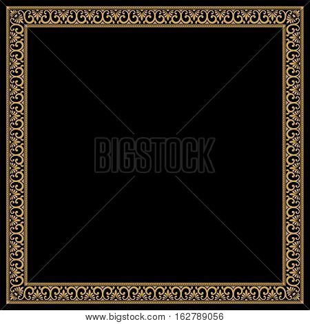 Greek style frame with vintage ornament. Separate linear and angular elements. Golden pattern on a black background.