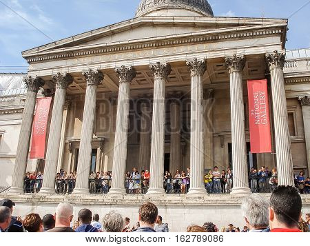 National Gallery At Trafalgar Square In London