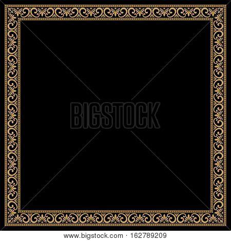 Greek style frame with vintage ornament. Golden pattern on a black background.
