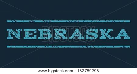 Nebraska watermark stamp. Text tag between horizontal parallel lines with grunge design style. Rubber seal stamp with dust texture. Vector blue color ink imprint on a dark blue background.