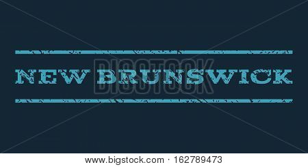 New Brunswick watermark stamp. Text caption between horizontal parallel lines with grunge design style. Rubber seal stamp with scratched texture.