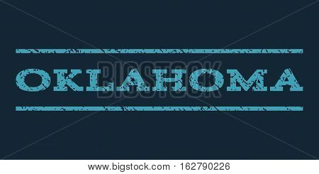 Oklahoma watermark stamp. Text caption between horizontal parallel lines with grunge design style. Rubber seal stamp with dirty texture. Vector blue color ink imprint on a dark blue background.