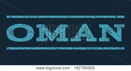 Oman watermark stamp. Text tag between horizontal parallel lines with grunge design style. Rubber seal stamp with scratched texture. Vector blue color ink imprint on a dark blue background.