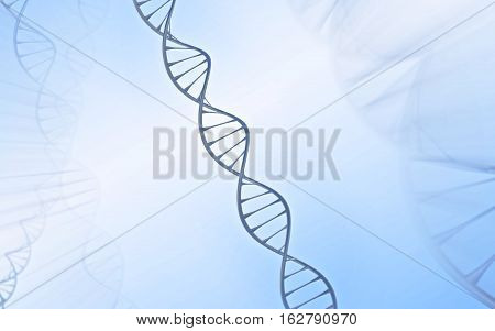 Singular DNA Double helix made of sulver/ grey material in front of a blue and white background adorned with echo images and light rays